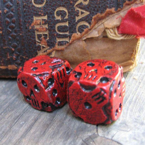 Hand cast red skull dice, oogie boogie dice, nightmare movie dice - dice resume