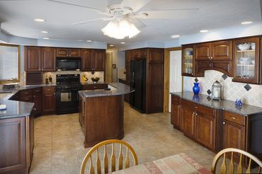Kitchen Remodeling: Blue Pearl Granite Countertops with Cherry ...