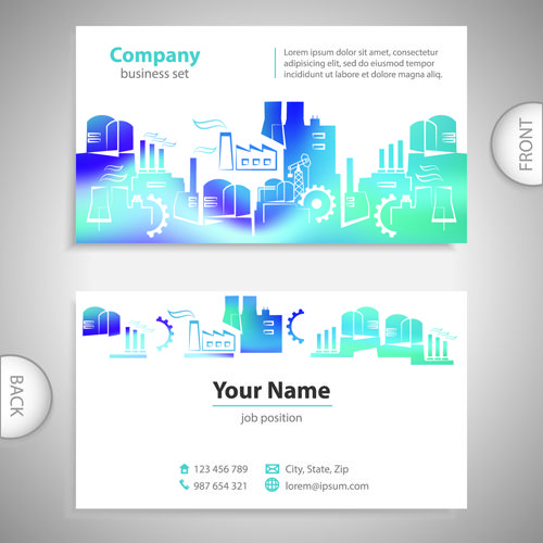 Excellent business cards front back template vector 09 | Templates ...