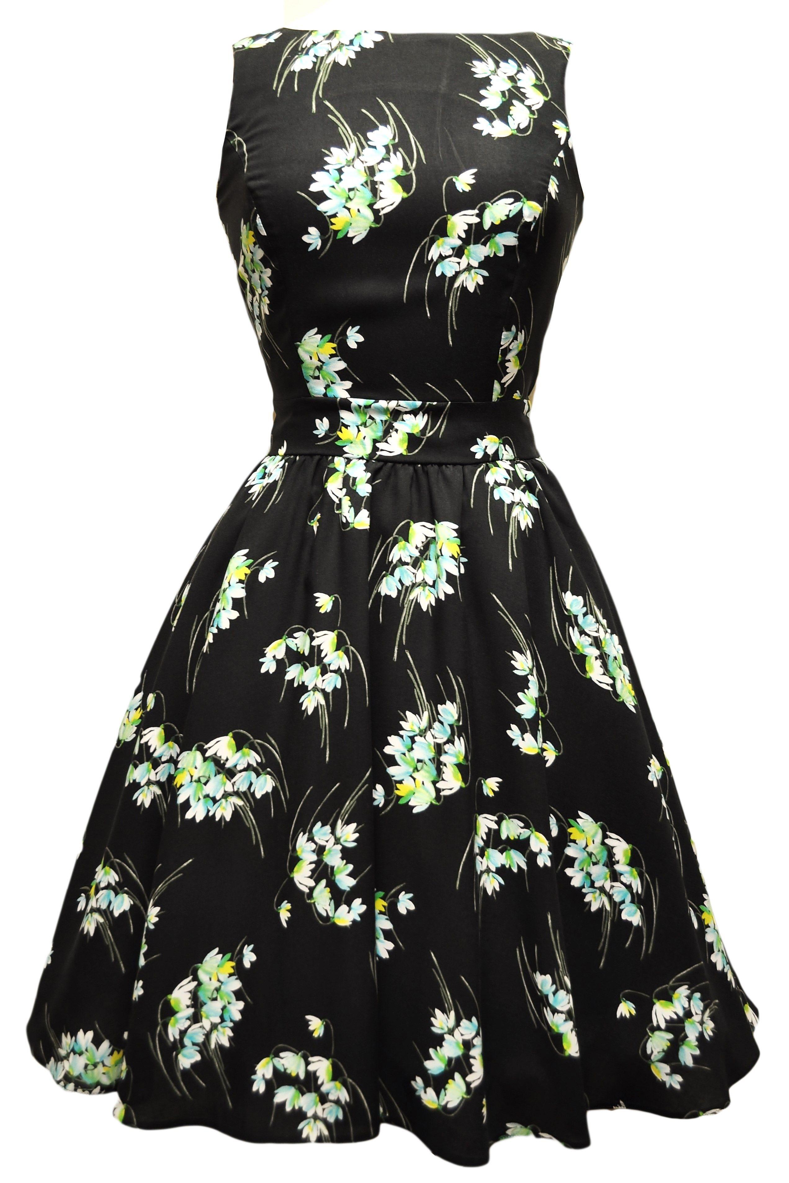Seje Sort Kjole med Smukke Vintergækker i Klare Farver 50 Modetøj til Damer i behageligt materiale