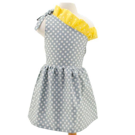 Girl Dress  Gray Polka Dot Yellow Dress  Harlow  by Appleandivy, $38.00