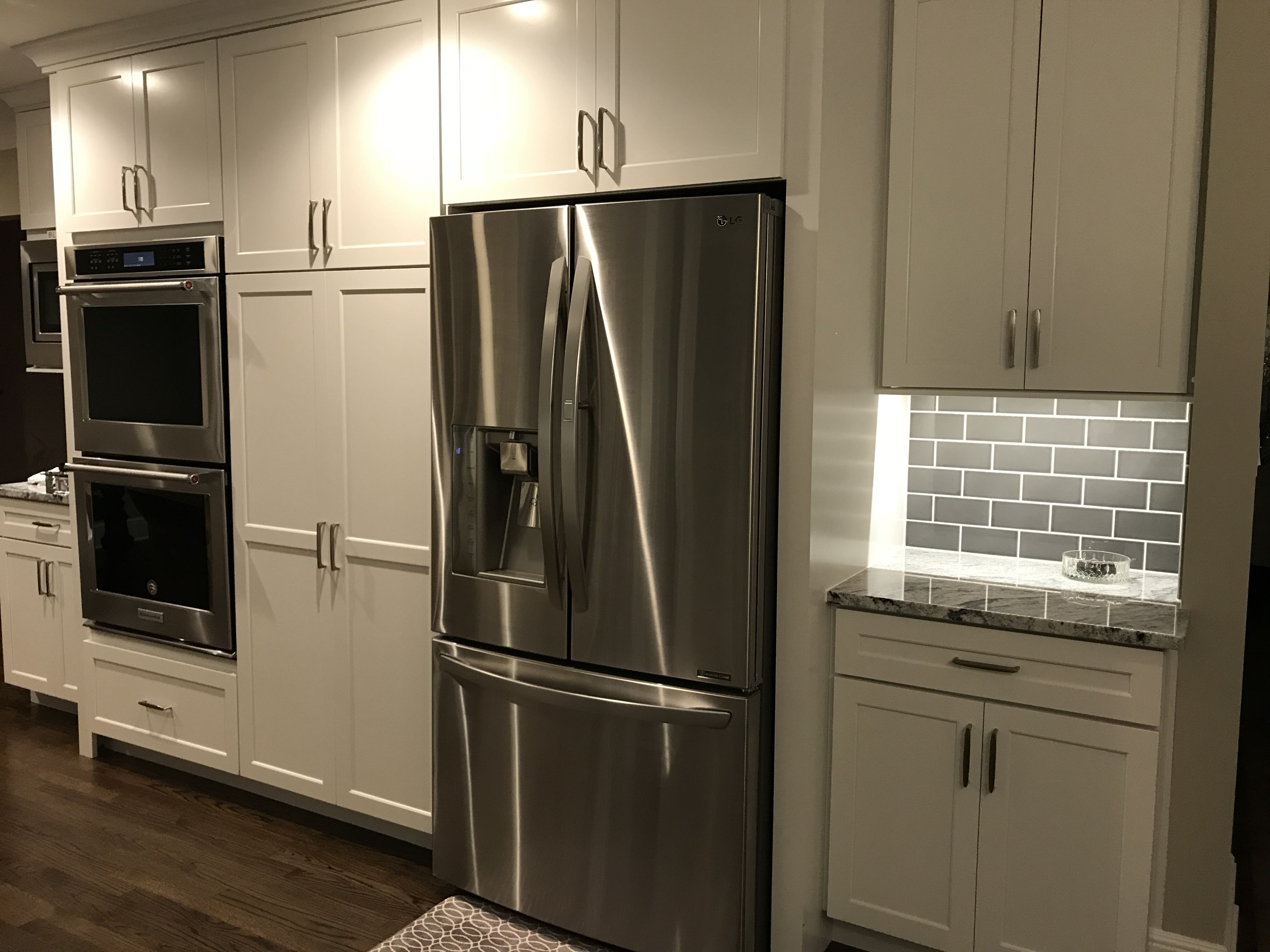 Decora Prescott White Cabinets New Kitchenaid Double Oven Pantry With Sliding Shelves New Lg Refrigerator Sil Home Kitchens Kitchen Remodel Refrigerator Lg