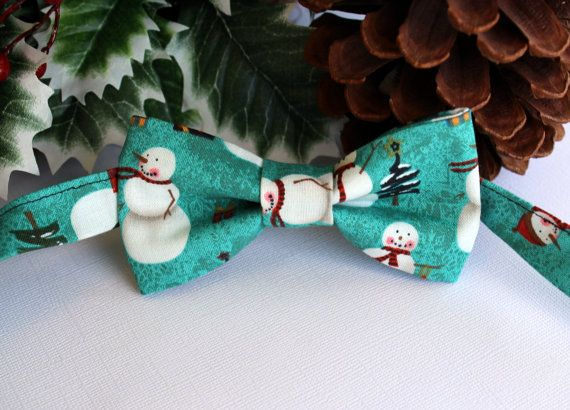 Boys Bow Tie Winter Christmas Snowmen with Pine by becauseimme