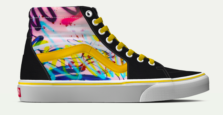 a01895349ea5 High top Vans with Windows   Currents painting design.