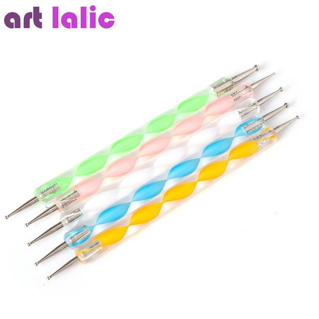 5 Pcs Professional 2-Way Nail Dotting Pen Marbleizing Painting Nail ...