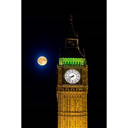 London Big Ben Clock tower the moon Canvas Art - David Slater DanitaDelimont (23 x 34)