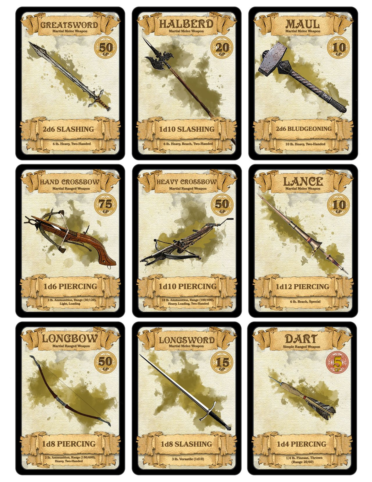 dm-paul-weber: Weapon Cards for    | Items | Dungeons