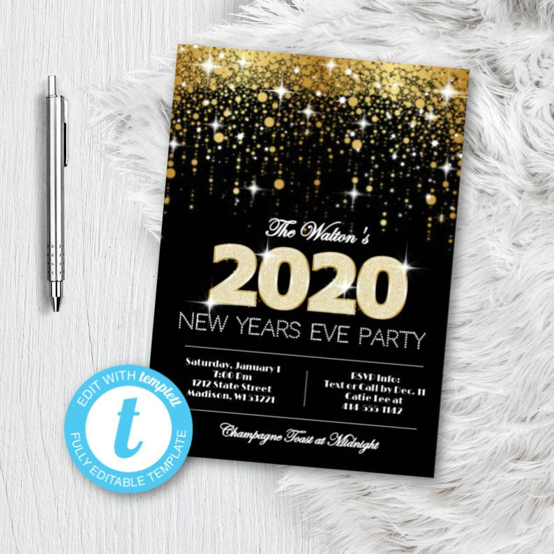 Gold New Years Invitation NYE Party Invitation Black