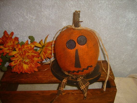 Grungy Folk Art Pumpkin Decoration Primitive Gathering by zantana - halloween pumpkin decorations