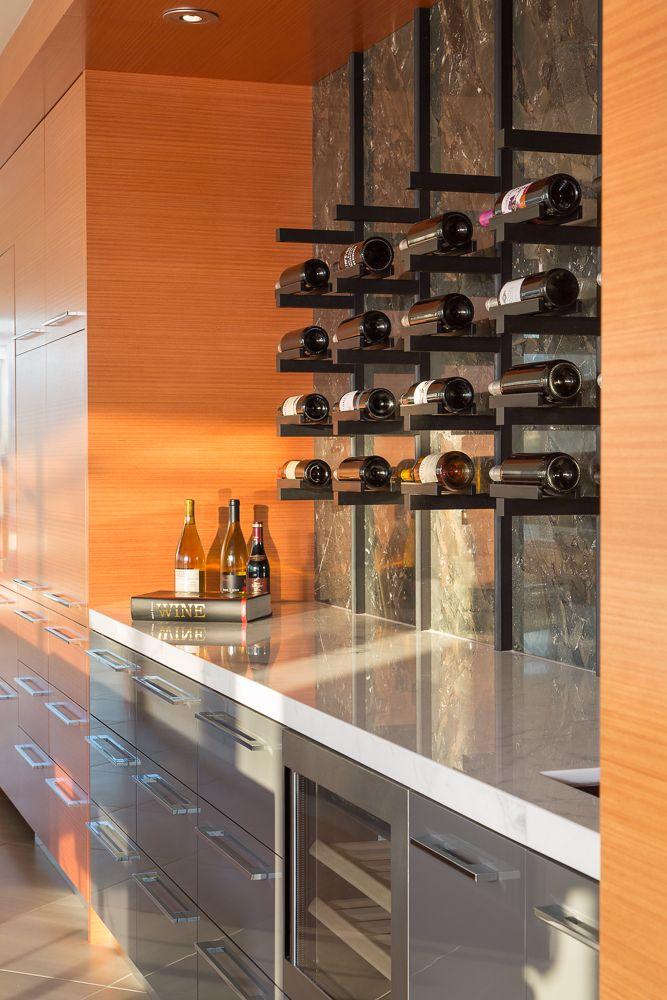 Dolce Penthouse Custom Kitchen Custom Wall Mounted Wine Rack And
