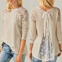 New Women Fall Clothes Tops Lace Crochet Patchwork Blouse Backless T-shirt long sleeve Ladies Tops