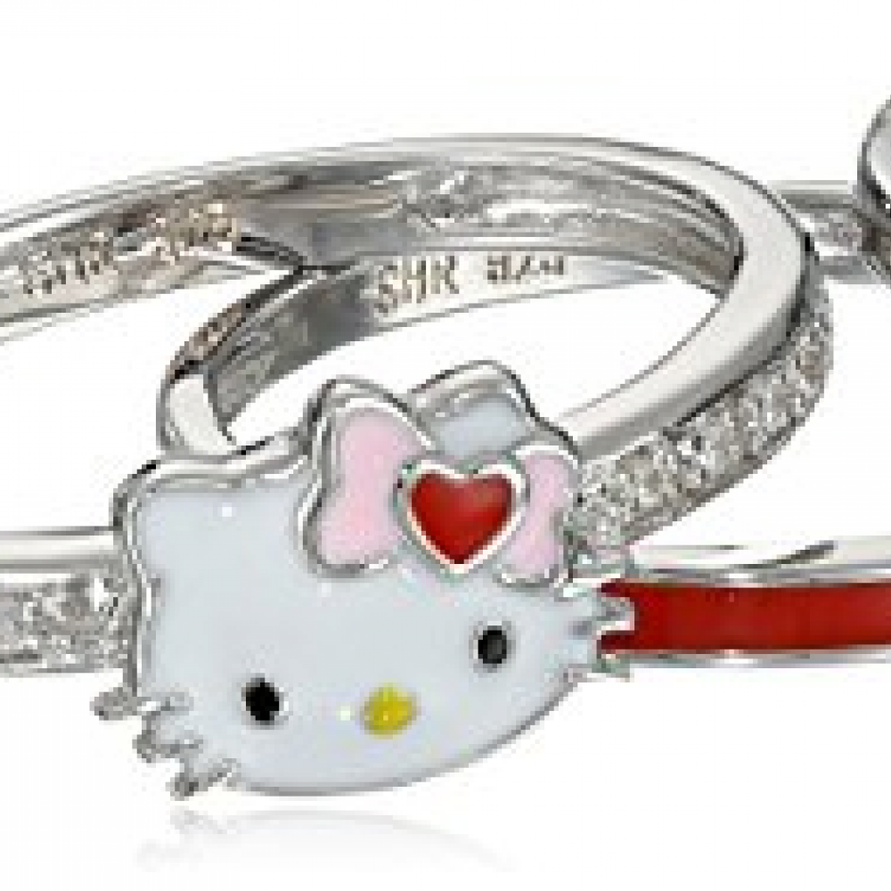 43ed9b977 Hello Kitty Sterling Silver Heart Bow Enamel Swarovski Crystal Shank and  Enamel Bands Stackable Ring,