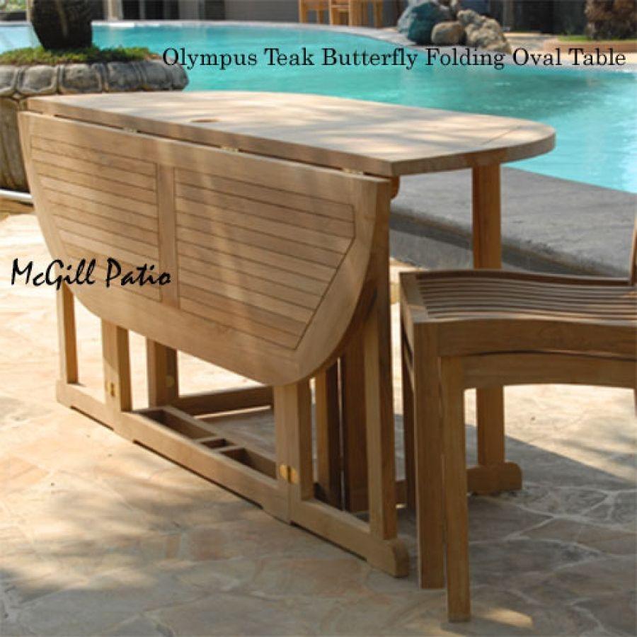 Teak Patio Folding Table Olympus Oval
