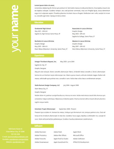Resumés By Tyler Norris, Via Behance Super Simple One For A Non