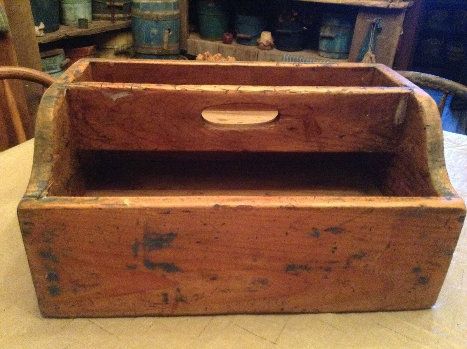 Details About Antique Primitive Wooden Crate W Handle Wood Tote