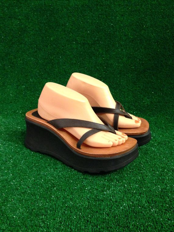 b204b27d7a0c 90s Platform Strappy Rubber and Wood Thong by badatpettingcats ...