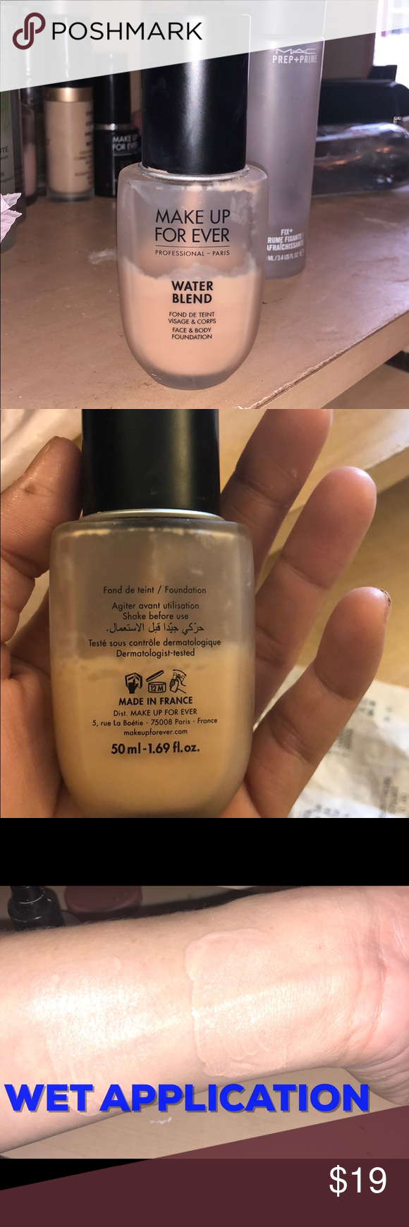 Makeup Forever Water Blend Foundation Y325 Y325 is Flesh