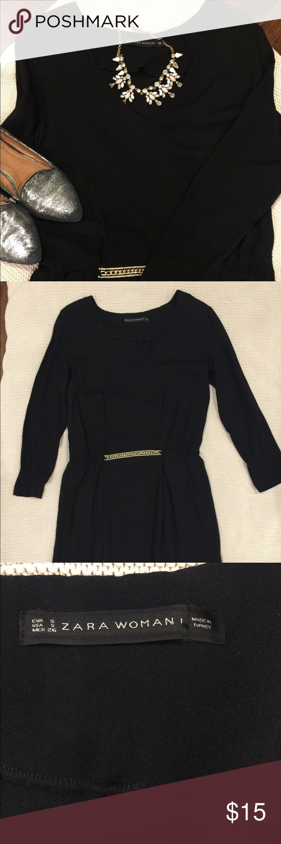 Zara long sleeve black dress sz s elastic waist zara dresses and