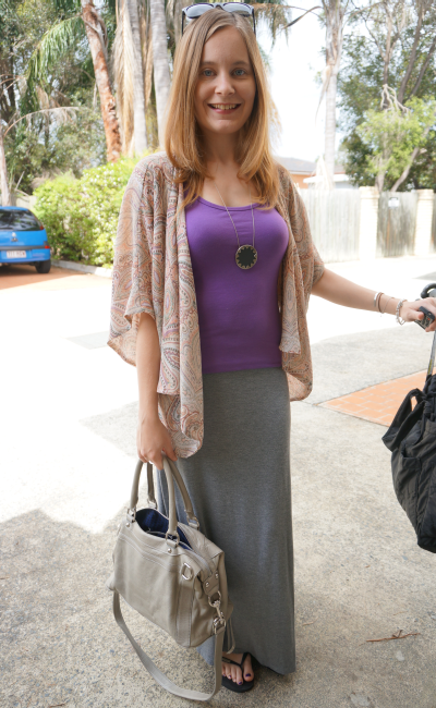 Grey Jersey Maxi Skirt, Purple Tank Top, Kimono Floral Cardigan ...