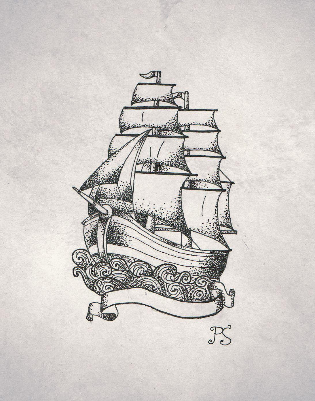 tattoo sketch sailfish dotwork black ship sketch