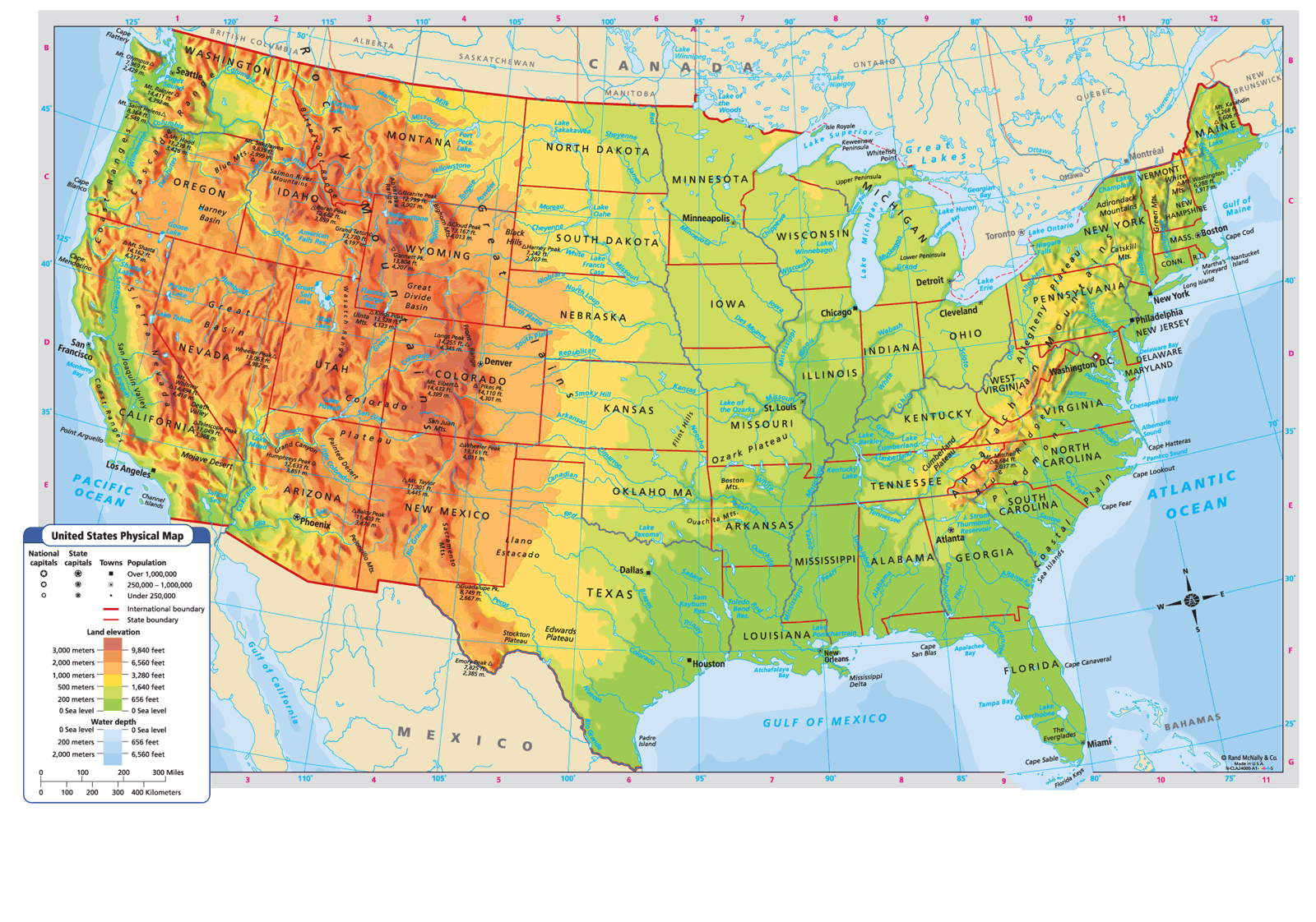 Topographic Map Of Us States.United States Physical Map Favorite Places Spaces Topographic