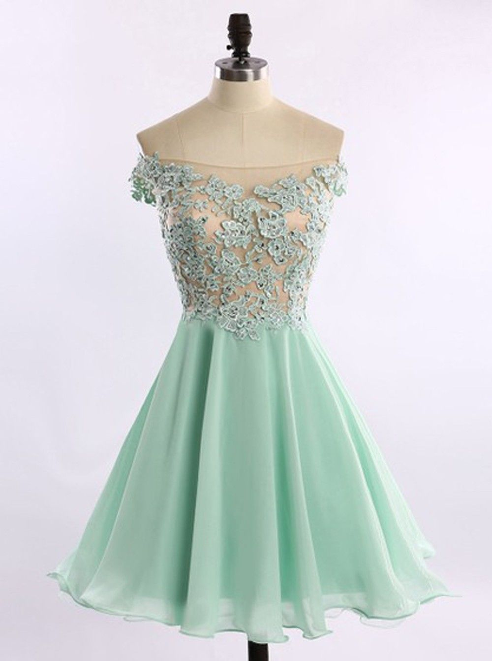 Aline offtheshoulder short chiffon beaded mint prom homecoming