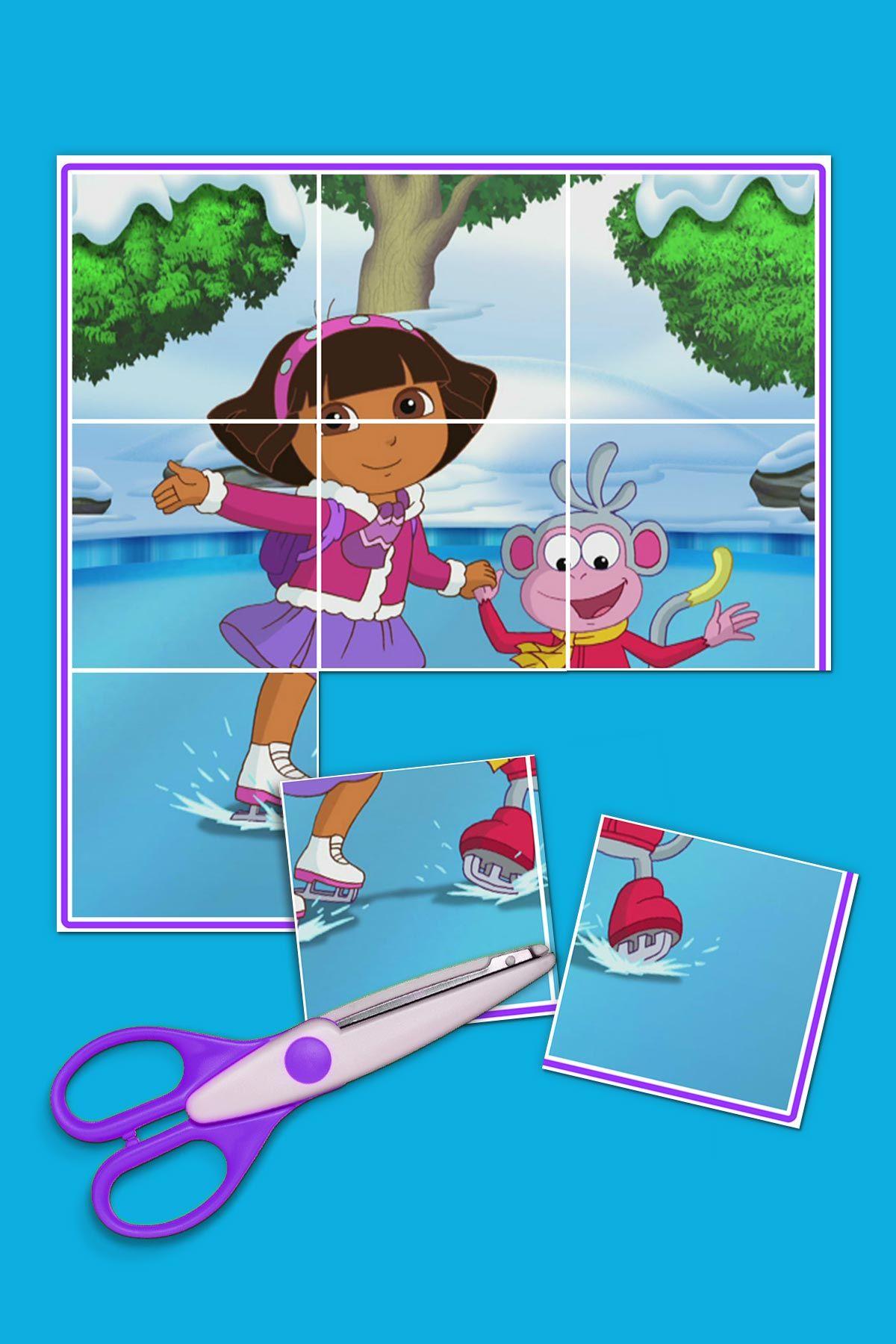 Dora And Boots Ice Skating Puzzle Dora Preschool Printables Ice Skating [ 1800 x 1200 Pixel ]