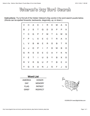 Veterans Day word search puzzle with the map of the United States
