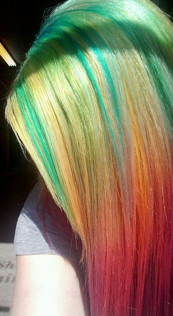 skittles, via Flickr. So my hair had been pink and yellow, and I added turquoise to make green streaks.