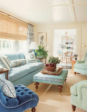 Living Room Shades Decor Adorable Adding Texture With Bamboo Shades  House Beautiful Coastal . Design Ideas