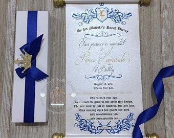 Royal blue prince scroll invitation birthday wedding invitation royal blue prince scroll invitation birthday wedding invitation handmade sweet 16 invitation quinceanera filmwisefo