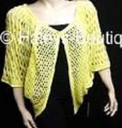 BCBG Max Azria Size XL Lemon Sorbet Yellow Cardigan Sweater Top Crochet Fishnet #BCBGMAXAZRIA #Cardigan