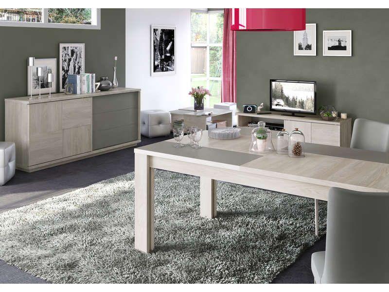 Table 95 cm avec allonge VA PIANO coloris chêne naturel et taupe
