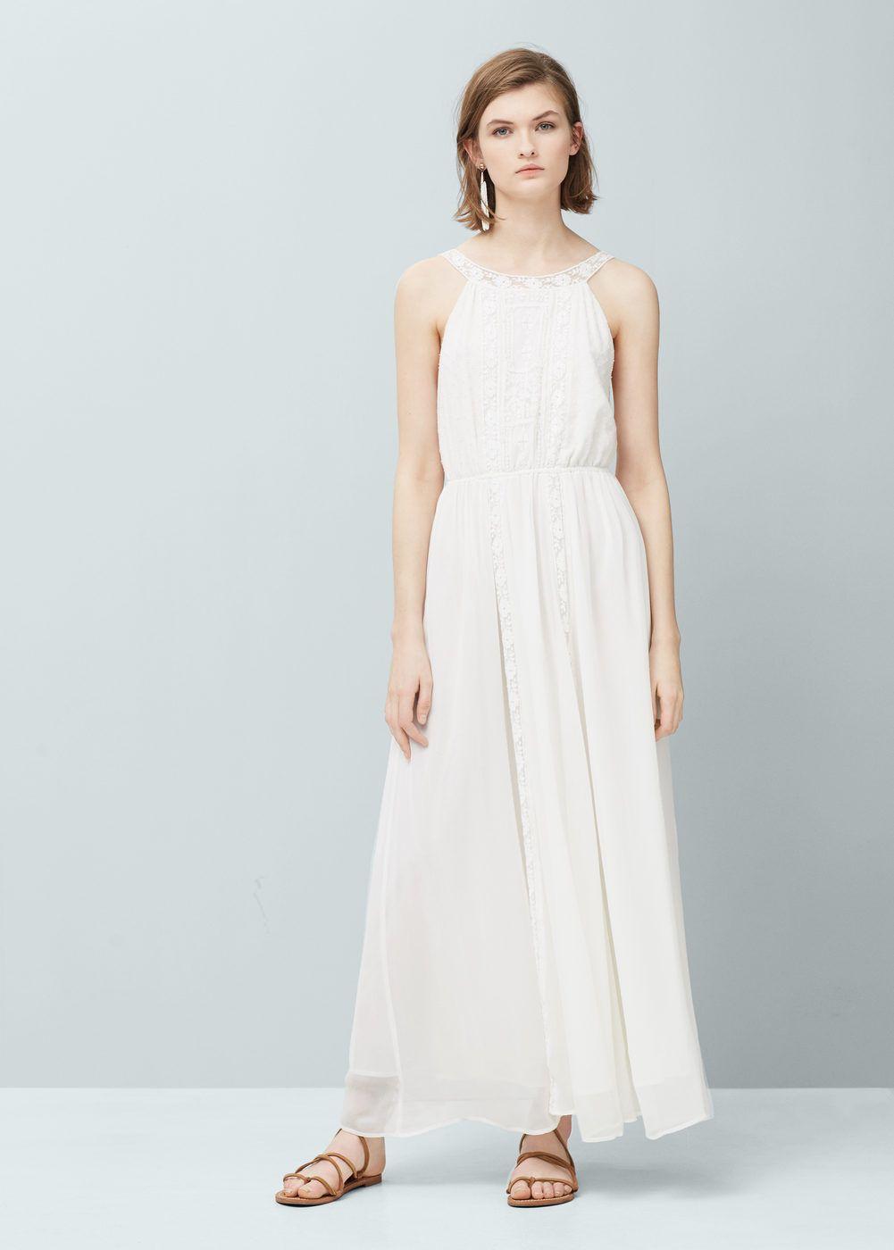 77ded2827b Vestido largo blanco Mango