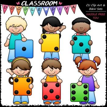 Colorful Dice Kids Clip Art Math Clip Art B W Set Math