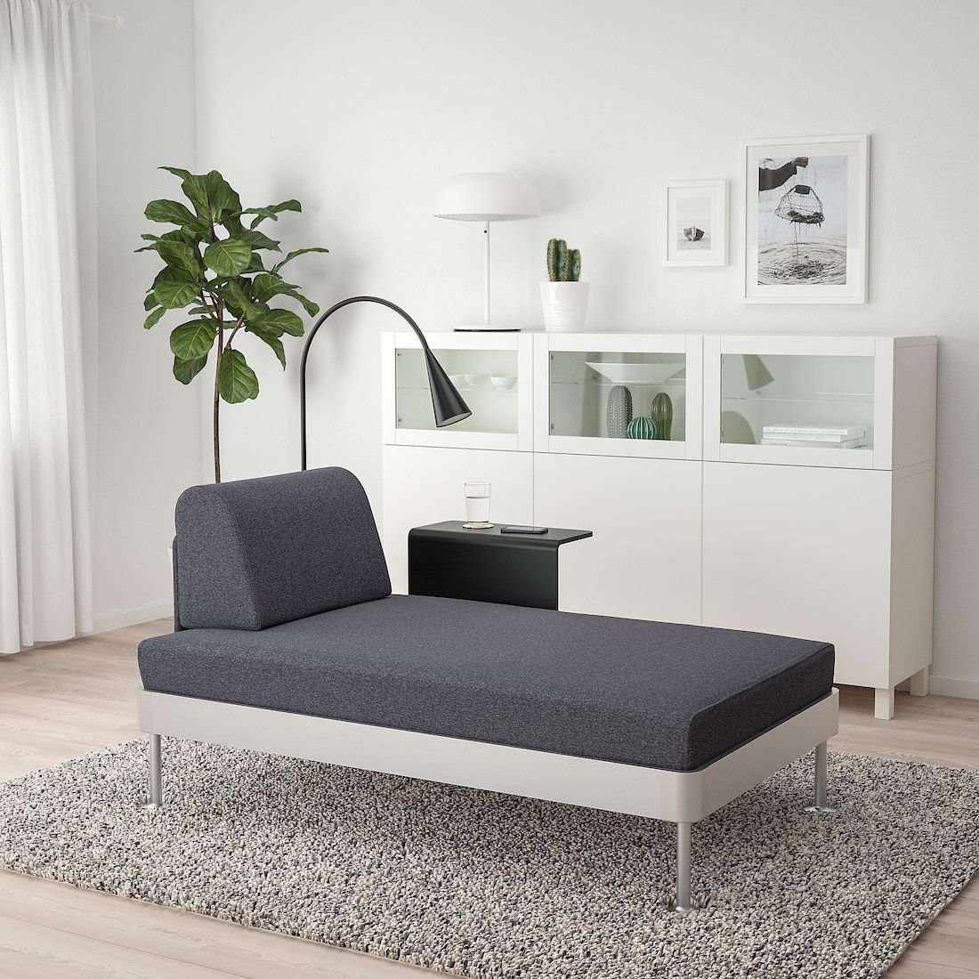Delaktig Chaise With Side Table And Lamp Gunnared Medium Gray Ikea Chaise Ikea Home Furnishings