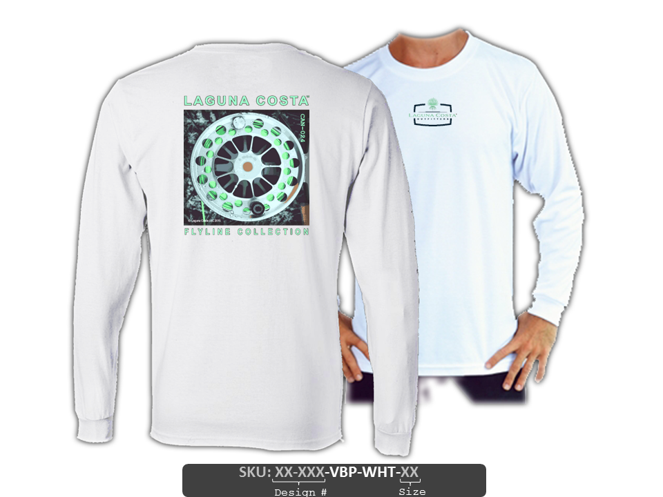 "CAN-024 ""Lamson Fly Reel"" Long Sleeve ""Spun-Poly"" Basic Performance Shirt - WHITE"