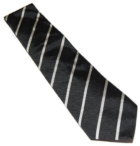"""Polo Ralph Lauren Purple Label Mens Black Silver Stripe Silk Tie Italy Polo Ralph Lauren-Purple Label. 100% Silk. 3.5"""" Wide. Dry Clean. Hand made in Italy. Sometimes Polo will mark a dot on the sewn on tag so it can't be returned to a Polo Store.."""