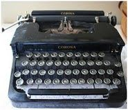 my dad's old typewriter he got when he was 12, also kept in my livingroom. [My Dad's typewriter...he received it on his 13th birthday...I cherish it every day in my living room!]