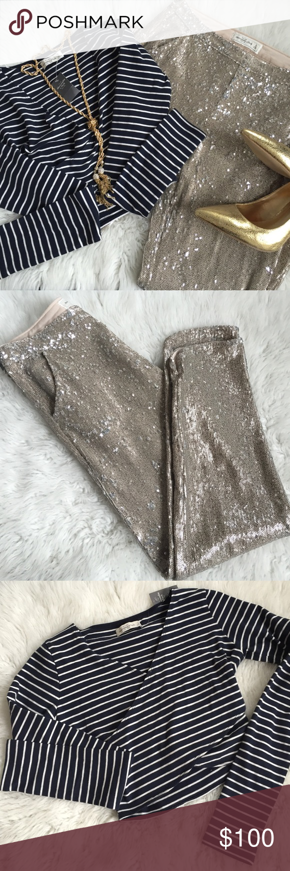 Abercrombie sequin pants Sequin side zip pants .  I paired them with gold pumps but be creative! ✨💕🔥 Abercrombie & Fitch Other
