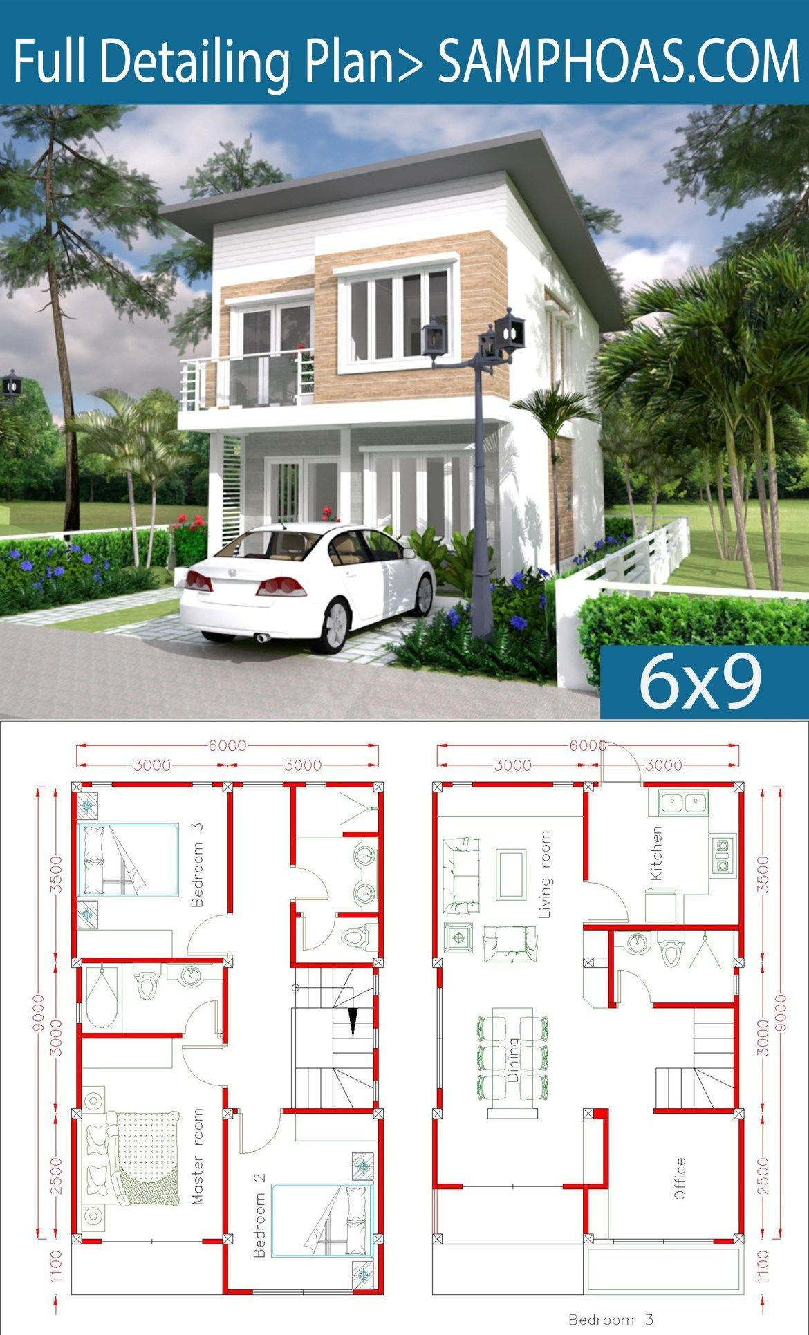 Simple Home Design Plan 6x9m With 3 Bedrooms Casaspequenas Simple Home Design Plan 6x9m With 3 Bedroo Simple House Design Simple House House Construction Plan