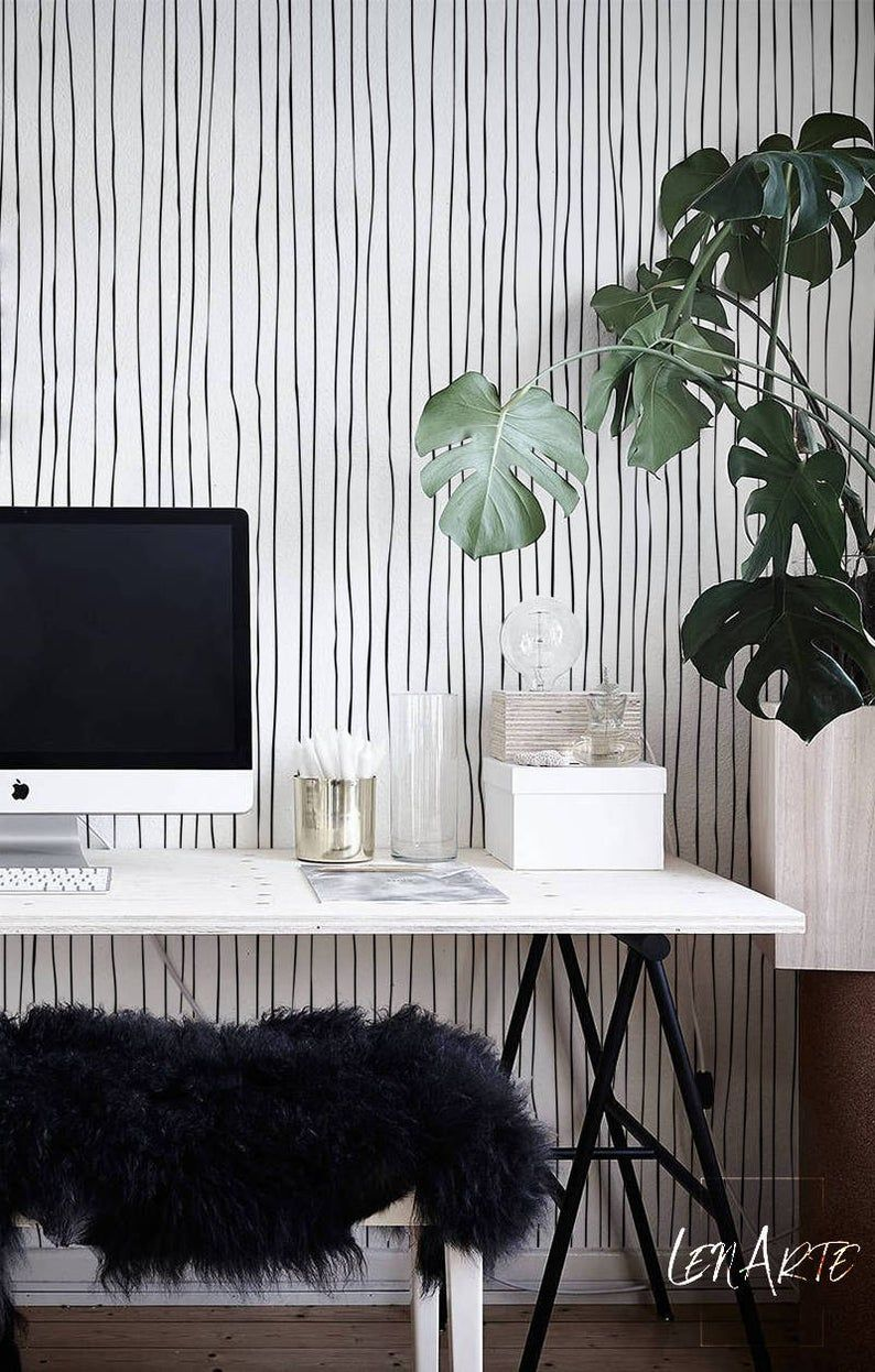 Blurred Lines Wallpaper Black And White Pattern Removable Wallpaper Self Adhesive Peel And Stick Modern Decal Black Lines 29 In 2021 Black And White Wallpaper Lines Wallpaper White Wallpaper