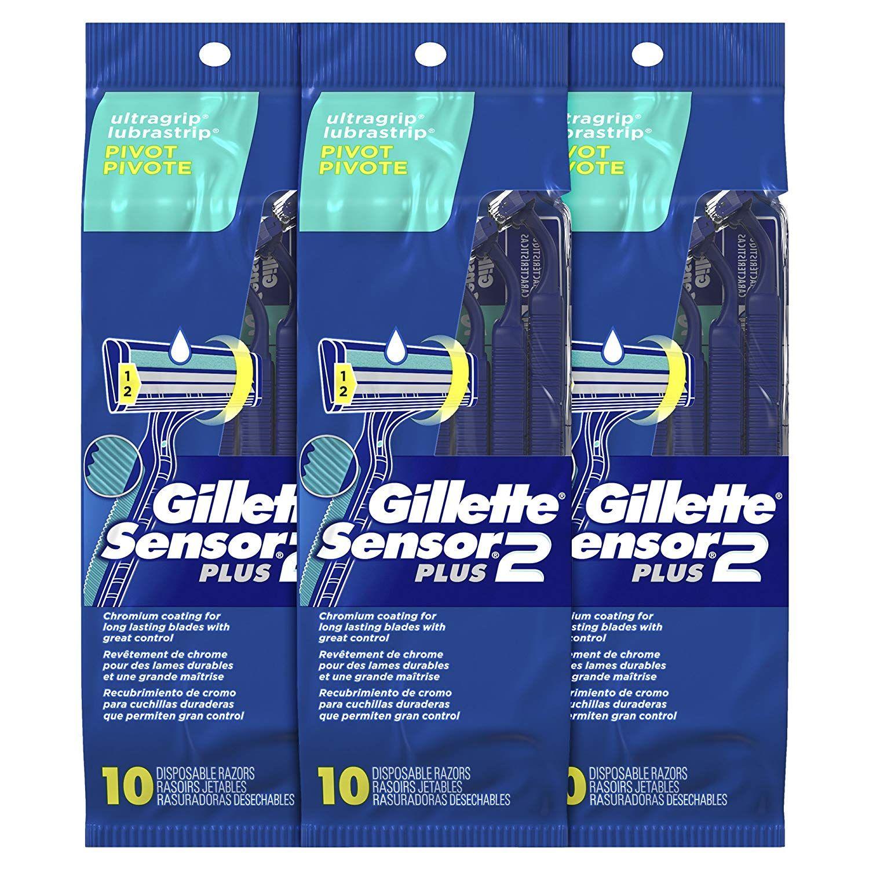 Gillette Sensor2 Plus Men S Disposable Razor Pivot 10 Count Pack Of 3 Mens Disposable Razor Blades Gillette Disposable Razor Magic Shave Cream