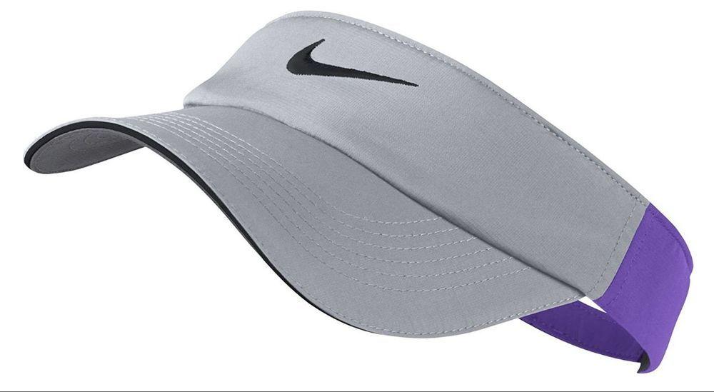 Nike Dri Fit Visor Golf Tennis Running Sun Visor Gray Purple Women Womens Adjust Nike Visor Nike Dri Fit Nike Visor