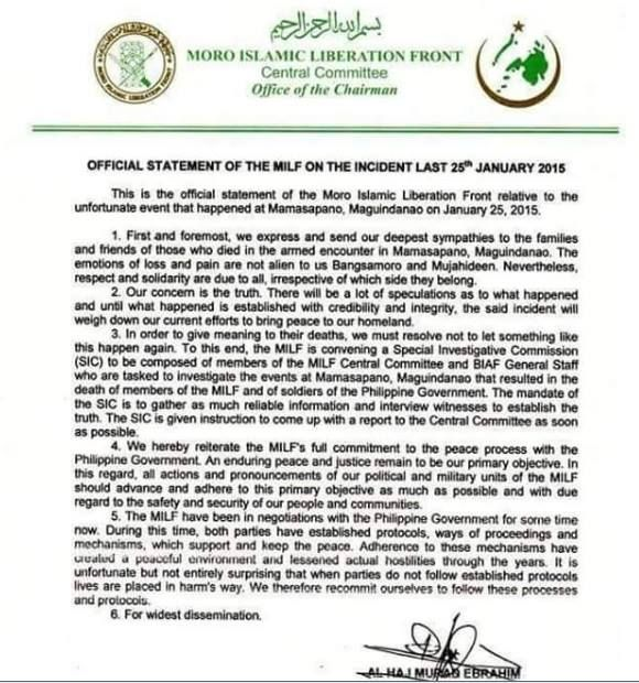 Official statement of the MILF on the Mamasapano incident on Jan. 25, 2015