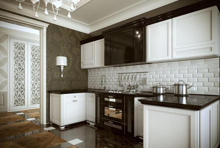 mobilier de cuisine en marron laqu et blanc neige et carrelage sol assorti