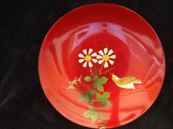 Vintage Lacquerware Dish  , Red Laquer ware , Red  Bowl with Bird and Flowers #dishware