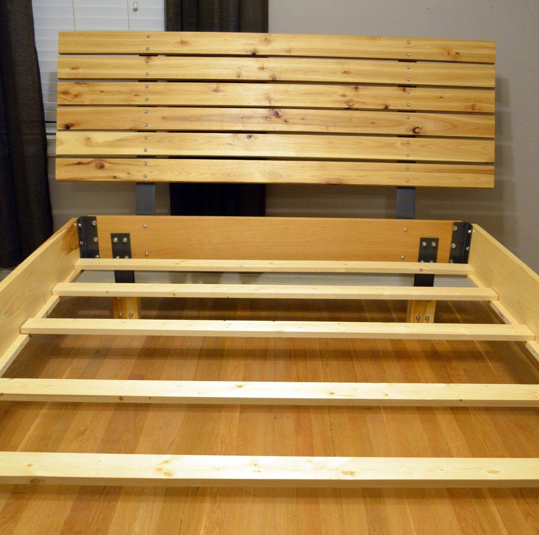 Modern Hickory bed frame and hickory wood slat headboard