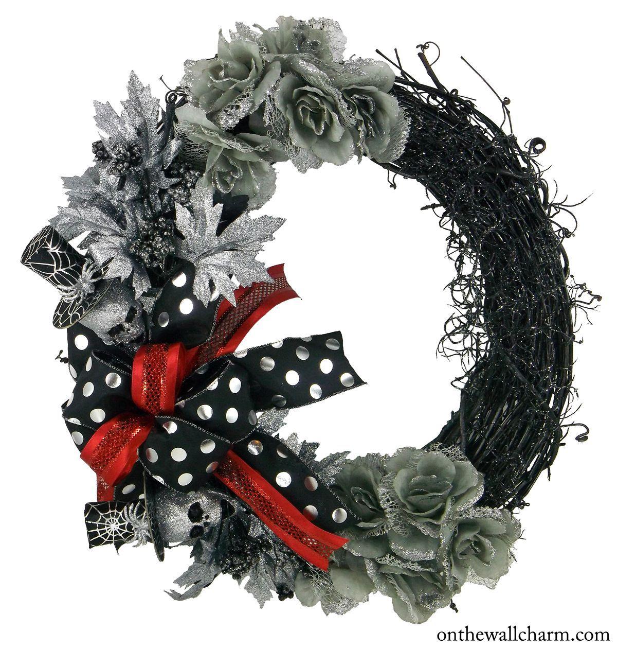 Halloween Silver Skull Grapevine Wreath   Halloween, Design e Casuale