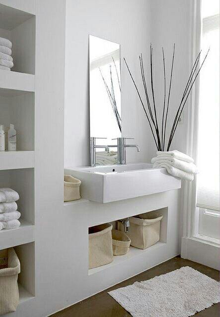 White bathroom bathrooms Pinterest